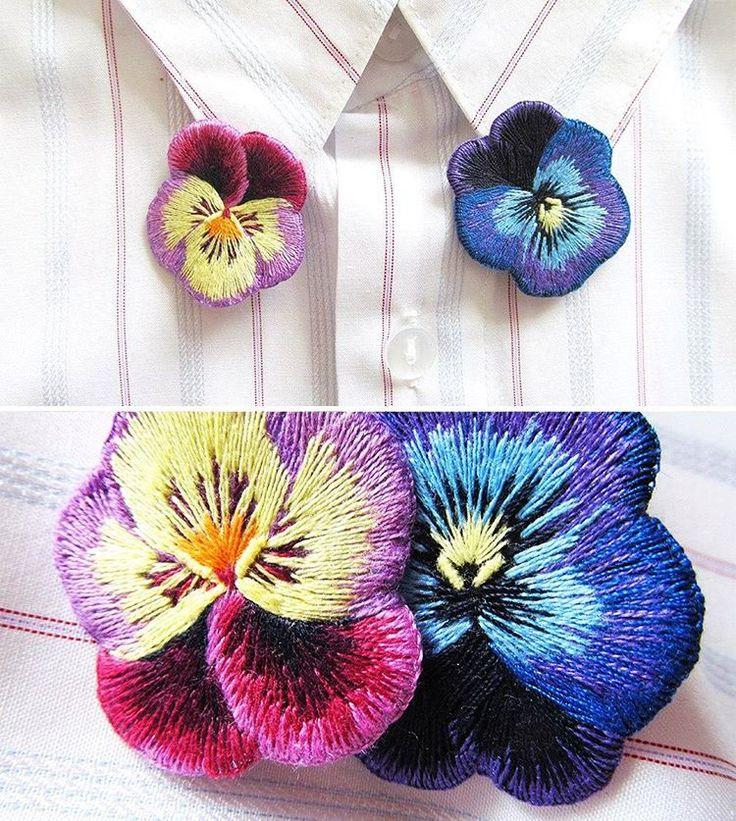 Анютины глазки, брошки на булавках, застежки с серебрением 925 пробы. Размер 3.5смPansies brooches, pins with silvering, 3.5 sm#handembroidery#embroidery#embroidered#brooch#patch#pansie#lerapetunina#flower#embellishment#вышивка#анютиныглазки#цветы#брошь#ручнаявышивка