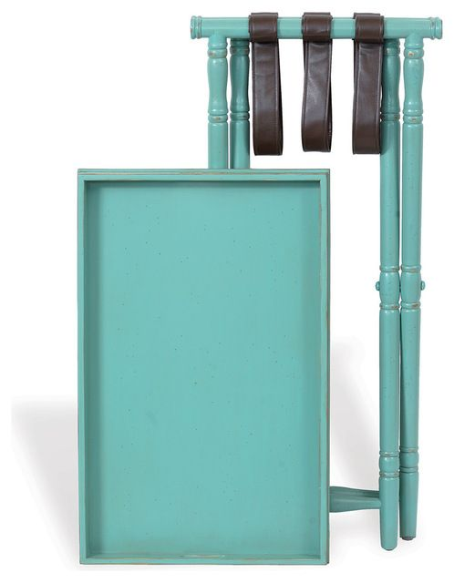 "Devon Butler Beach Style Folding Tray Table Turquoise 36""H transitional-tv-trays"