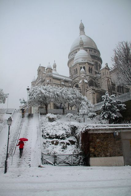 """""""The red umbrella"""" -A winter's day in Montmarte Paris.  by milliped, via Flickr"""