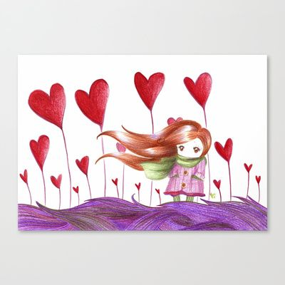 Hearts forest Stretched Canvas by ♠ Ren