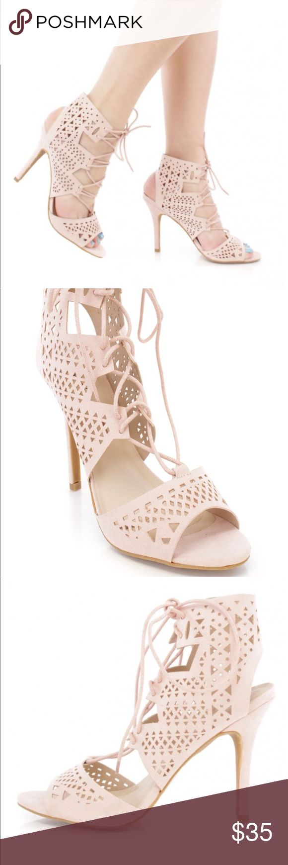 """NEW in box!!  nude tie up laser cut  heels Beautiful , sexy nude cut out heels in nubuck leatherette . These beautiful shoes have a feminine elegant look. Wear with jeans,dresses, skirts and shorts. nothing gives a lengthening look like a nude shoe does.   Goes wth everything!  Heel measures approx 4 """" in height.  Runs true to size and even a little large. If you're in-between sizes size down. . Brand new in box. Various sizing available. non-skip pad on sole. Shoes"""