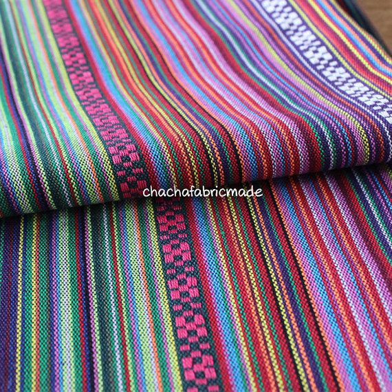 Tribal Fabric Ethnic Fabric Aztec Fabric Native Fabric BOHO Bohemian Style Color Stripe Fabric peruvian fabric- Half Yard