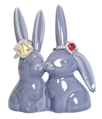 "Bunny Rabbit Ring Holder Purple Ceramic Engagement & Wedding Ring Holder Measures 2.75""Wx3.25""Hx1.75""D"