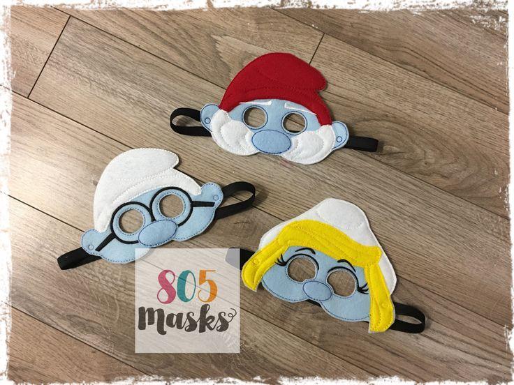 Smurfs Smurf Inspired Masks, Kids Masks, Kids Costume, Smurfette Mask, Papa Smurf Mask, Brainy Smurf Mask, Smurf Birthday, Halloween Masks by 805Masks on Etsy