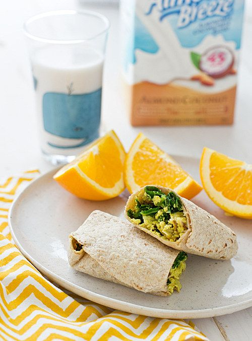 Freezer-Friendly Greens & Tofu Scramble Wrap.  Spend thirty minutes to make these on Sunday, stick them in the freezer, and eat well all week. from @BuzzFeed Food