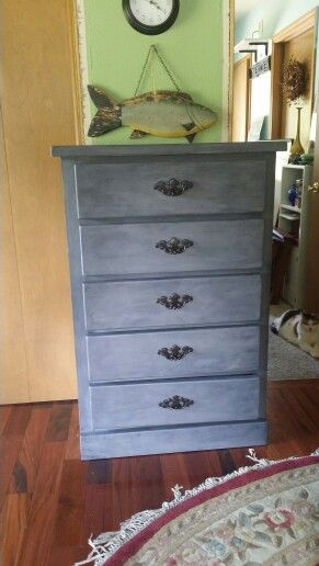 Painted This Pine Dresser With Light Gray Chalk Paint, Then Applied Black  Wax. I