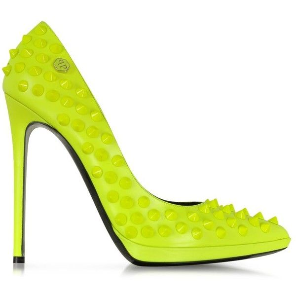 Philipp Plein Neon Yellow High Heels Pop Studded Pump (570 CAD) ❤ liked on Polyvore featuring shoes, pumps, heels, delete, neon yellow pumps, high heel pumps, high heeled footwear, leather shoes and platform stilettos