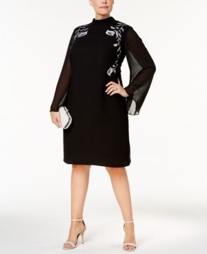 Sl Fashions Plus Size Sheer-Sleeve Embroidered Sheath Dress - Black 14W