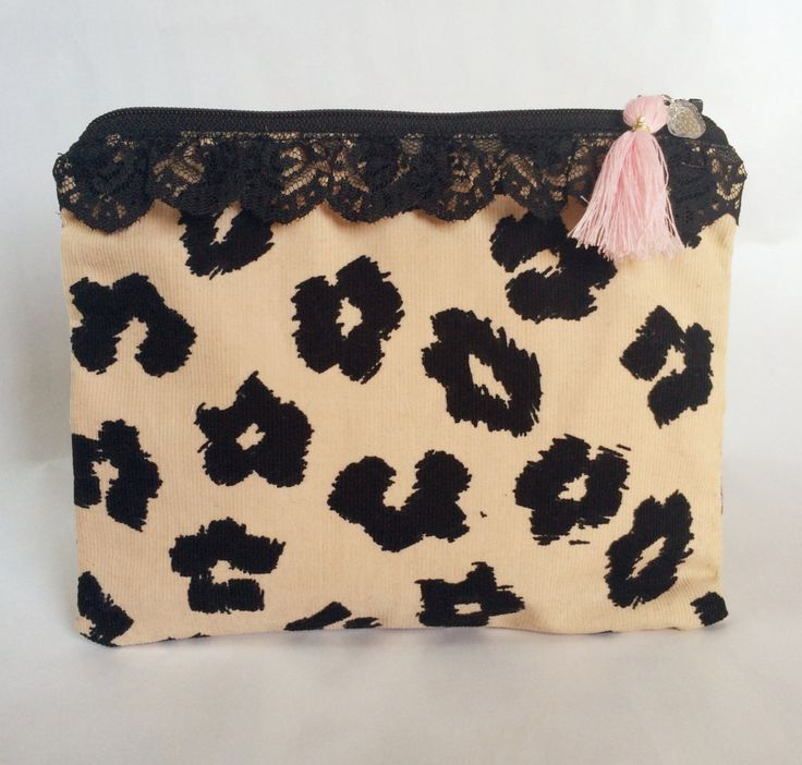 Lace and Leopard Makeup Bag/Pouch by strawberriesncreamm on Etsy