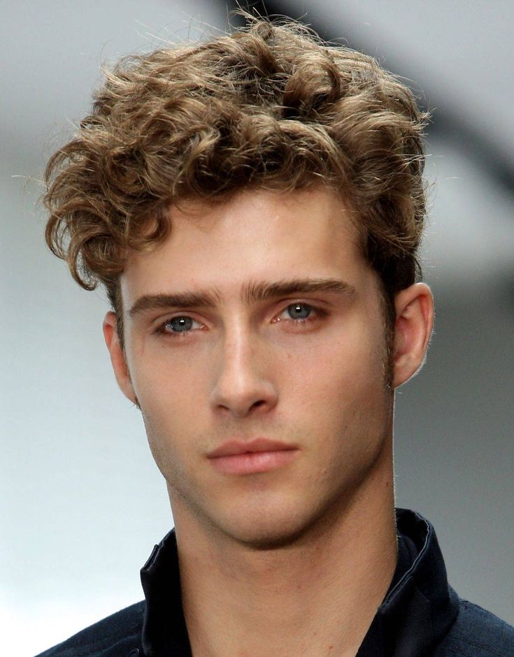 Men's short curly hair