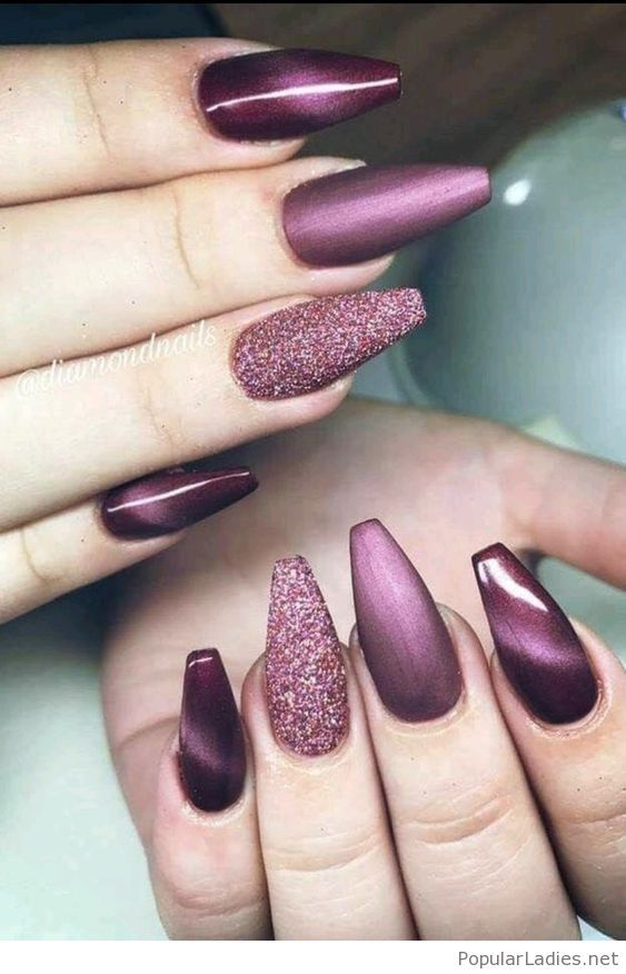 Amazing brown long nails with glitter