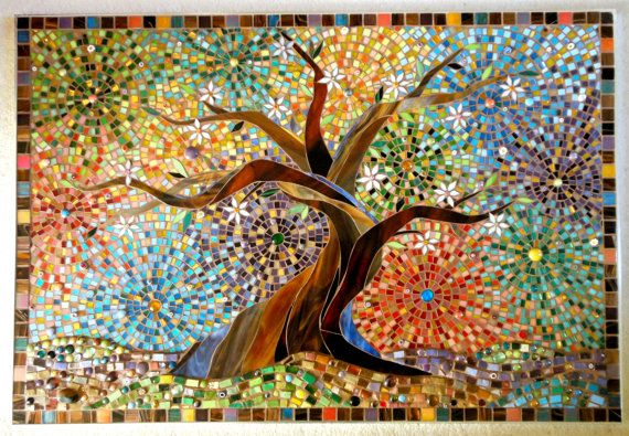 Muliticoloured Tree of Life Glass Mosaic Greetings Card - Mosaic Art - Tree of Life