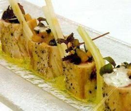 Receta Atún rojo sobre praliné de pistachos con manzana verde, apio y mayonesa…