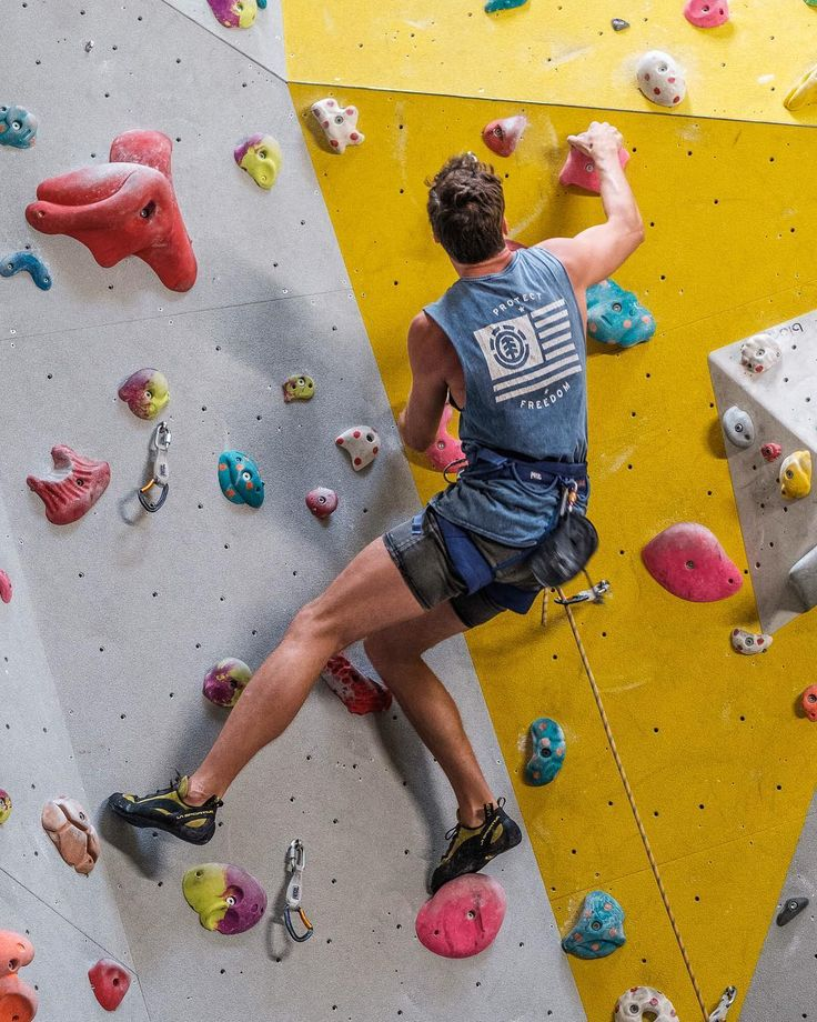 A climber on the wall at The Castle Climbing Centre.