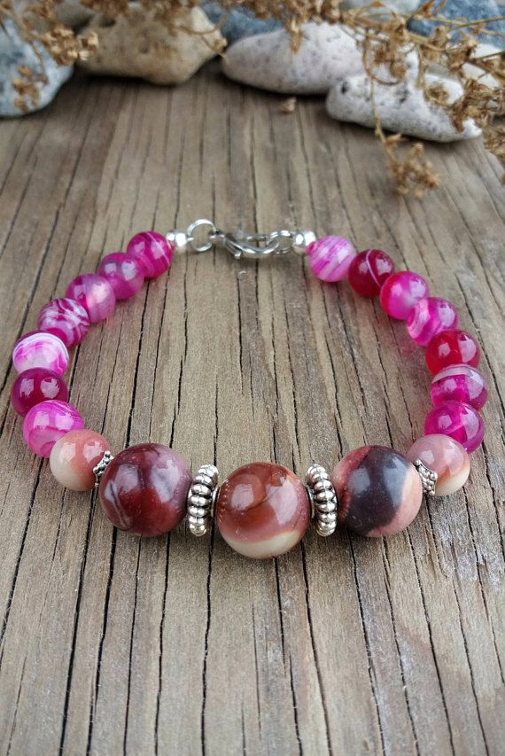 Agate bracelet Mookaite jasper bracelet by JewelryFromDreams