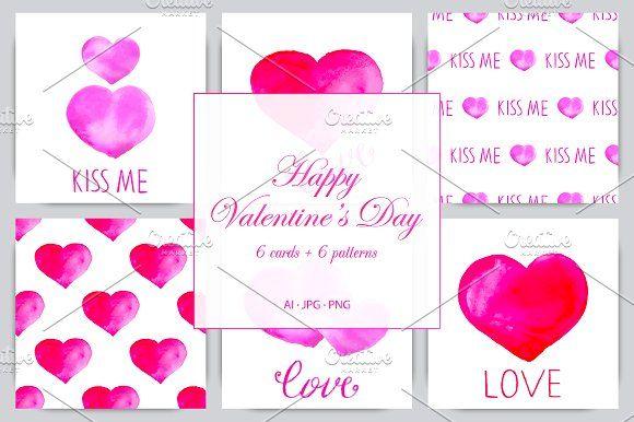 Happy Valentine Day. Watercolor Set. by Nadezda Gudeleva on @creativemarket