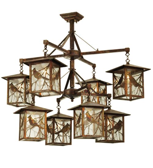 Art Glass Animals 42 Inch Seneca Song Bird 8 Light Hanging Lantern Chandelier By Meyda Lighting 69250