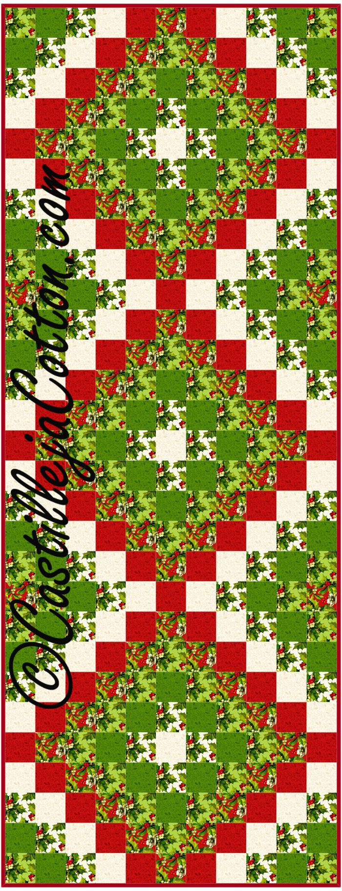 Pieced table runner for Christmas. Fat quarter friendly. Six Pack Trip Table Runner Pattern CJC-4447 by Castilleja Cotton - Diane McGregor.  Check out our Christmas patterns. https://www.pinterest.com/quiltwomancom/christmas/  Subscribe to our mailing list for updates on new patterns and sales! https://visitor.constantcontact.com/manage/optin?v=001nInsvTYVCuDEFMt6NnF5AZm5OdNtzij2ua4k-qgFIzX6B22GyGeBWSrTG2Of_W0RDlB-QaVpNqTrhbz9y39jbLrD2dlEPkoHf_P3E6E5nBNVQNAEUs-xVA%3D%3D