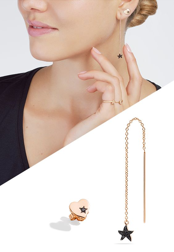 Love is everywhere. Discover the new Dodo rose gold star needle earring with black diamonds.