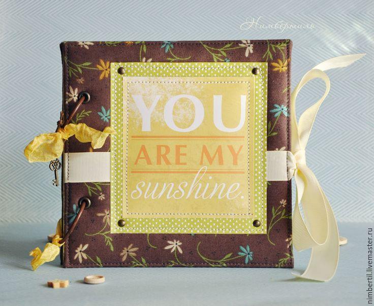 """Купить Миниальбом - инстабук """"Солнечный свет"""" - желтый, коричневый, салатовый, альбом для фото, альбом, фотоальбом"""
