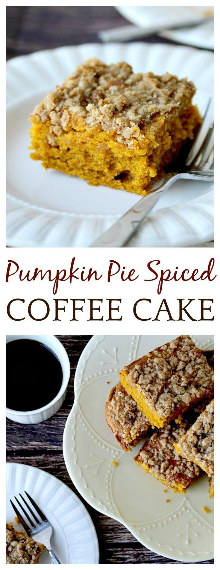 Even though it's technically still Summer, and the weather has yet to cool off around here, the smell of pumpkin spice in the air has me overly, ridiculously excited about the upcoming Fall season! I've got quite a list of recipes in the works, and first up is this Pumpkin Pie Spiced Coffee cake with an unexpected ingredient!