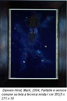 Damien Hirst, Mark, 2004, Farfalle e vernice comune su tela a tecnica mista / cm 353,5 x 271 x 10