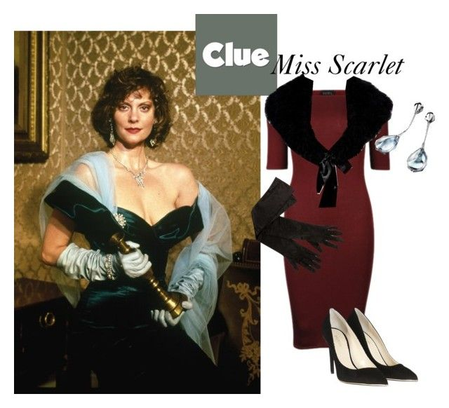 """""""Clue; Miss Scarlet"""" by antique-geek ❤ liked on Polyvore featuring Club L, Balmain, Baccarat and Chesca"""