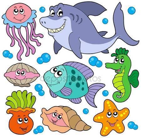 Скачать - Водные животные коллекции — стоковая иллюстрация #2147401