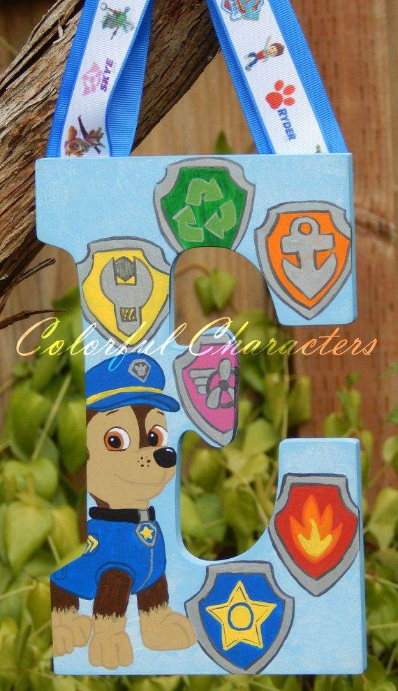 Paw Patrol Painted Wall Letter Room decor by ColorfulCharacters