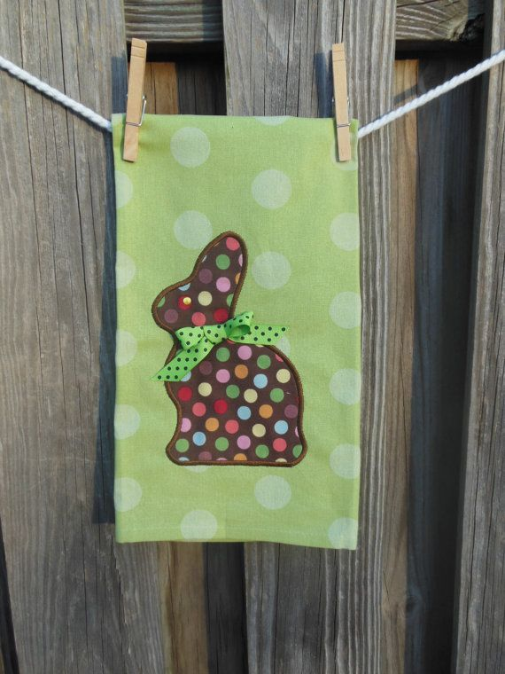 Chocolate Easter Bunny Tea Towel by TWINSANDQUINN on Etsy, $15.00
