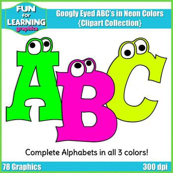 This fab freebie consists of 3 entire sets of googly eyed capital letters in neon colors