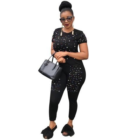 4974a0d333 Two Piece Tracksuit Women Fashion Pearls Beading Two Piece Set Top ...