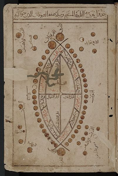 "The Kitab al-Bulhan, or Book of Wonders, is an Arabic manuscript dating mainly from the late 14th century A.D. and probably bound together in Baghdad during the reign of Jalayirid Sultan Ahmad (1382-1410).The manuscript is made up of astrological, astronomical and geomantic texts compiled by Abd al-Hasan Al-Isfahani, as well as a dedicated section of full-page illustrations, with each plate titled with ""A discourse on.."", (a folktale, a sign of the zodiac)"