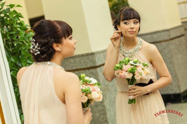 оригинальное свадебное платье персикового цвета #wedding #dress #bride