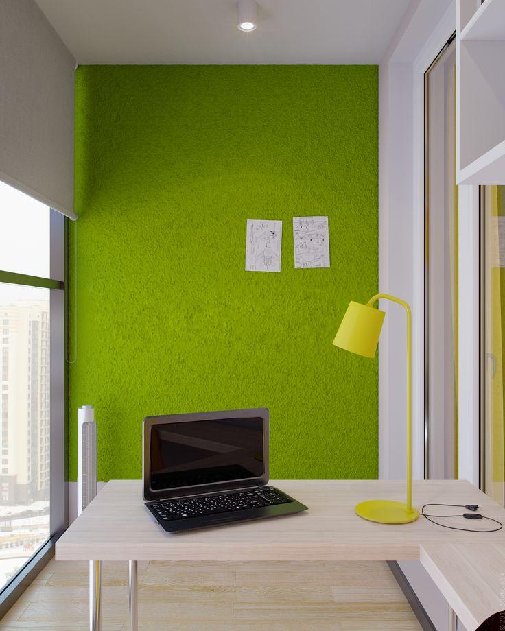 """Боковая стена балкона оформлена особым мягким покрытием """"под траву"""". Такую стену можно использовать как мудборд."""