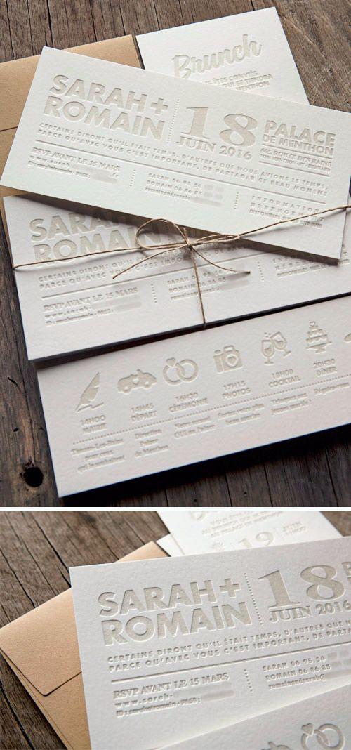 Ensemble personnalisable de cartons de mariage et brunch typographiés / customizable letterpress wedding invite with bold texts