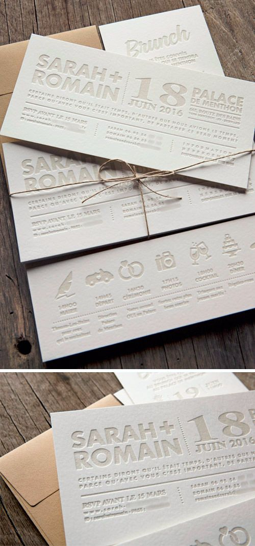 Ensemble personnalisable de cartons de mariage et brunch typographiés / customizable letterpress wedding invite with bold texts