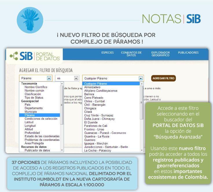Filtro de búsqueda por complejo de páramos del portal de datos del SiB