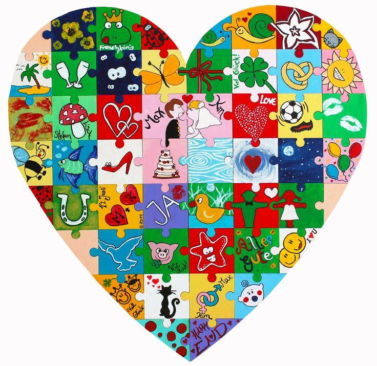Wooden Puzzle: Let all the couple's friends design a piece each!