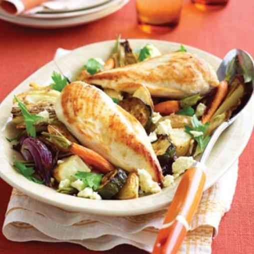 Chicken with roast vegies and feta | Australian Healthy Food Guide