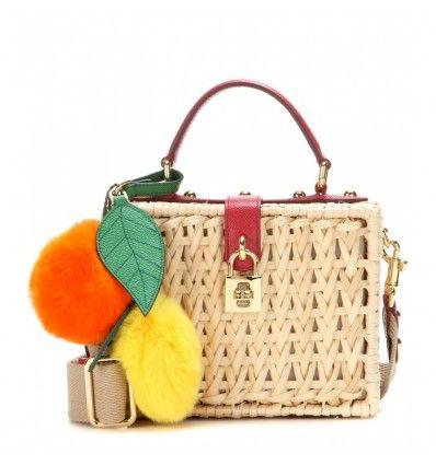 Naturfarbene, verzierte Tasche aus geflochtenem Bambus und Leder By Dolce & Gabbana