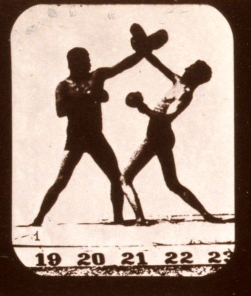Athletes boxing, 1878-1879, public domain via Wikimedia Commons.