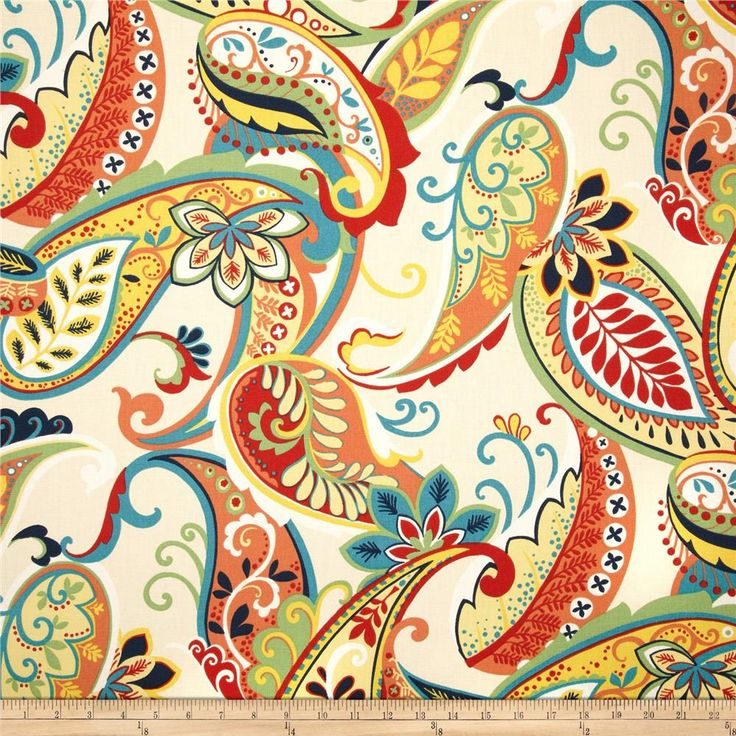 Covington Whimsy Paisley Multi from @fabricdotcom Screen printed on cotton duck; this medium weight fabric is very versatile. This fabric is perfect for window treatments (draperies, valances, curtains, and swags), bed skirts, duvet covers, pillow shams, accent pillows, tote bags, aprons, slipcovers and upholstery. Colors include navy, yellow, red, green, turquoise, coral, white and ivory.