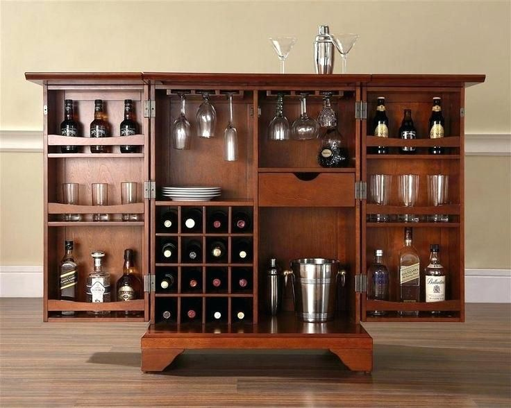 Liquor Cabinet With Lock Expandable Bar Cabinet In Classic Cherry