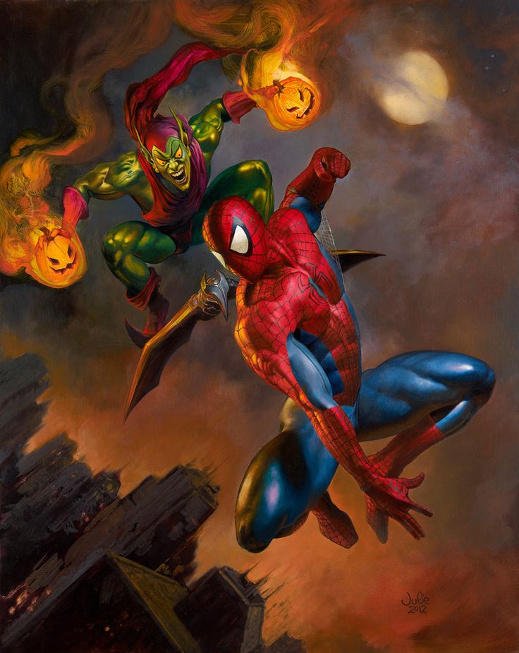 Spider-Man and Green Goblin painting by Julie Bell. Image link goes to the large pic on tumblr, and you can see much more of her art at her site (shared with Boris Vallejo): www.imaginistix.com . #comicart #juliebell