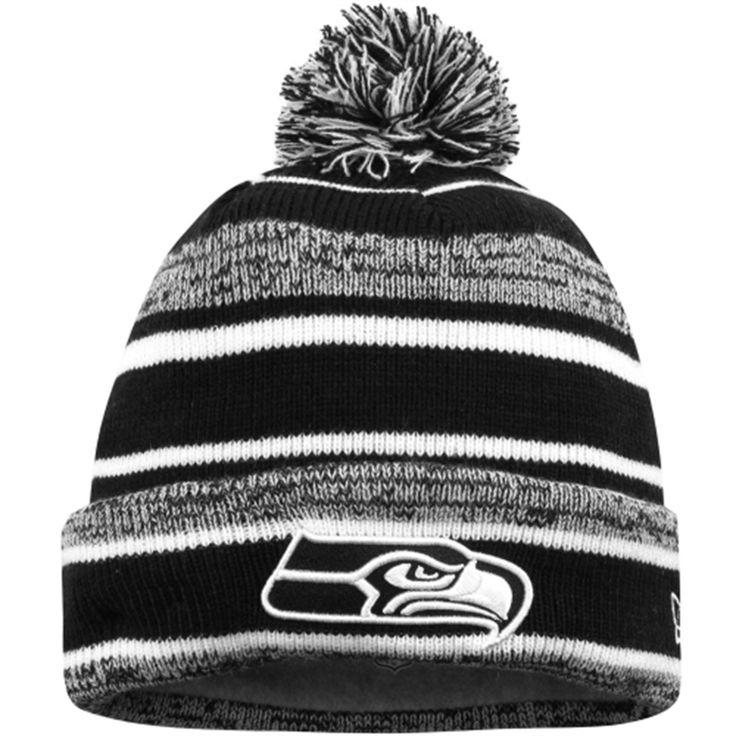 82c73ccd9 ... hot mens seattle seahawks new era black white sport knit cuffed hat  55567 3f789 ...