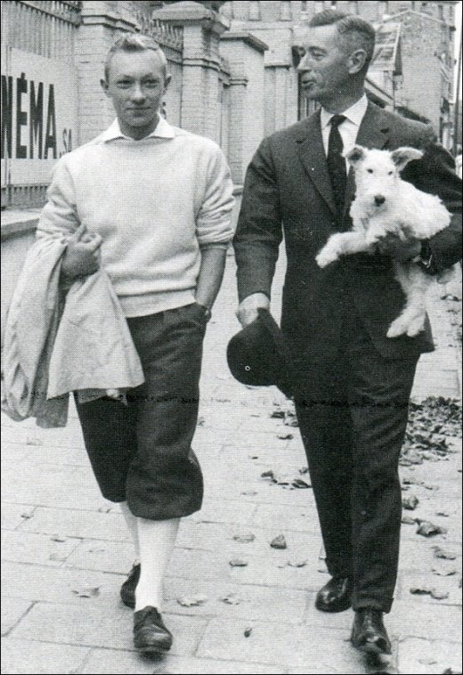 Georges Remi (Herge) and Jean-Pierre Talbot as Tintin during the filming of Tintin and the Blue Oranges, 1964.