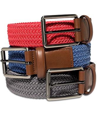 Perry Ellis Portfolio Belts, Woven Belt - Men's Belts & Suspenders - Men - Macy's