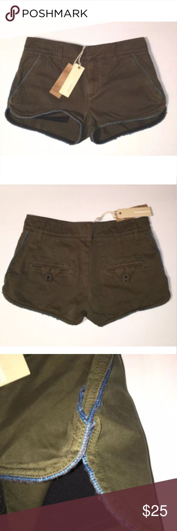 """Diesel Baskebi Shorts Army Green Shorts Sz 25 New with Tags DIESEL """"Baskebi"""" Olive Green Shorts Army green with blue trim Shirttail hem at outer thigh Size 25 Waist laid flat: 15"""" Length from waist at front: 9.5"""" Length from waist at back: 10.5"""" Back rise 13"""" Front rise 9"""" Inseam: 1.5"""" Zip fly with hook and eye closure Belt loops Diesel Shorts"""