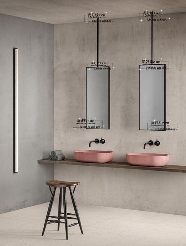 Iron Mirror Frame Beauty Salon Make Up Mirror Bedroom Mirror Ceiling Hanging Mirror Hotel Room Bed And Br Minimalist Bathroom Bathroom Trends Amazing Bathrooms
